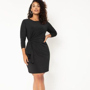 Eloquii Tie Front Mini Dress Black Long Sleeve EUC